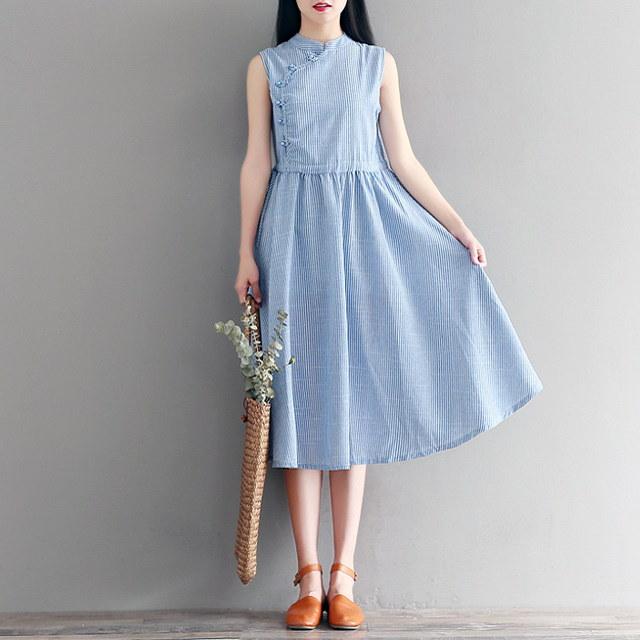 強くお勧め〜夏ヘンリーネックワンピース(2 color)綿麻混紡で、非常に非常にきれいなノースリーブワンピースkorea fashion style