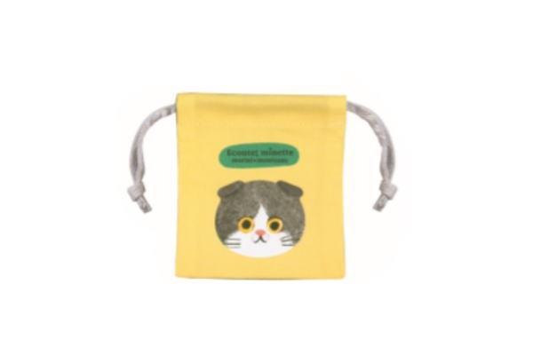【日本製】【エクート】【ECOUTE】ミニミニ巾着 【スコティッシュはちわれ】【巾着】【袋】【入れ物】【小物入れ】【猫】【キャット】【minette】【ミネット】【ネコ】【生活雑貨】【かわいい】