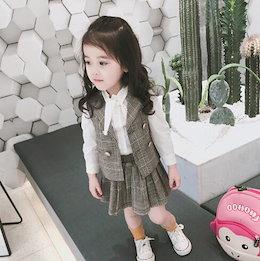 1a8d9c3827619 入学式 スーツ 女の子 シャツ スカート 3点セット子供服 チェック柄 フォーマル キッズ 受験