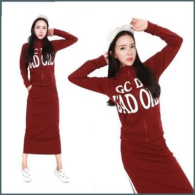[Hスタイル](PS)ジャドルの起毛SKセット/ビッグサイズ/女性トレーニングセット/ジャㅡジ /トレーニング上/ スウェットパンツ/韓国ファッション