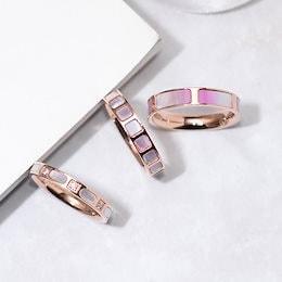 天然シェル18K指輪スワロフスキーCZダイヤモンドステンレス製18金仕上げLXMR19