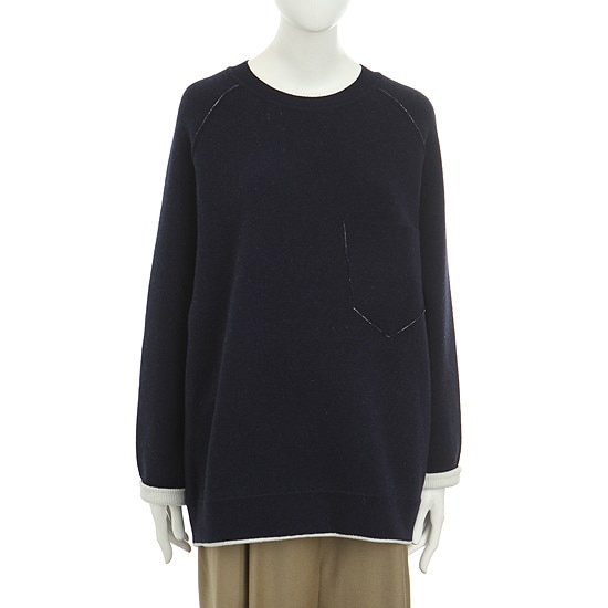 【トムボイ】袖配色ナグランウールニット(10T5WW912) ロングニット/ルーズフィット/セーター/韓国ファッション