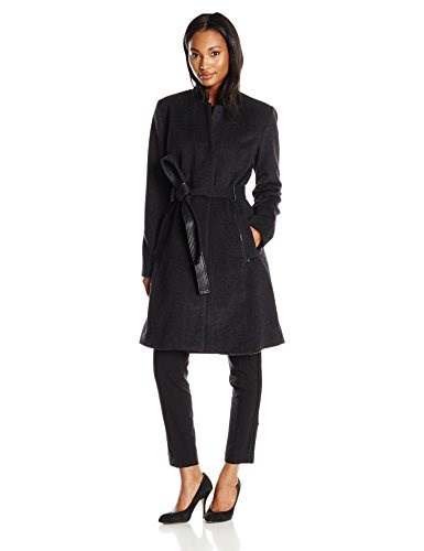 Badgley Mischka Womens Ivana Wool Coat with Leather Trim, Charcoal, Small