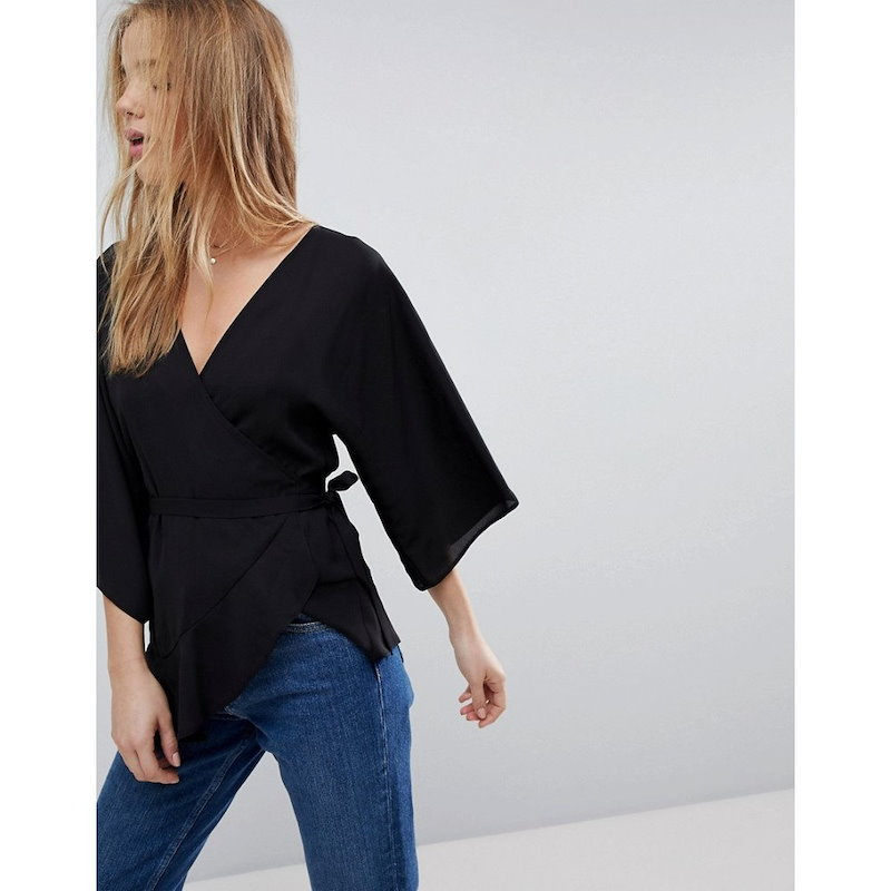 エイソス レディース トップス【ASOS Wrap Top with Kimono Sleeve】Black
