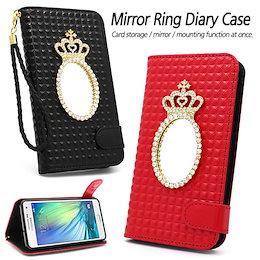 0740ad70f1 Mirror Ring Diary ケース 手帳型☆Galaxy S9/Plus/S8/S7/