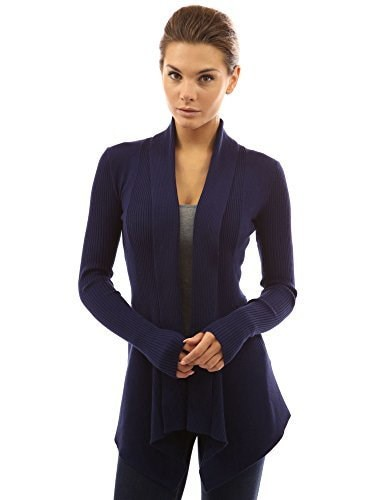 PattyBoutik Womens Ribbed Cascading Open Cardigan (Navy Blue M)