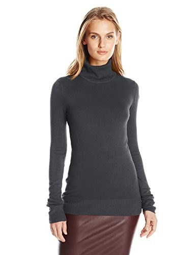 French Connection Womens Bambi Knit Turtleneck Sweater, Utility Blue, Large
