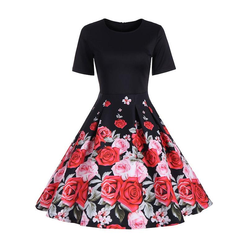 花柄のライン半袖ヴィンテージドレス