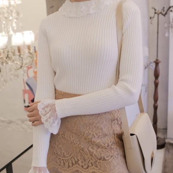 【ウィドゥイプン]レースの段ボールニット ニット/セーター/ニット/韓国ファッション