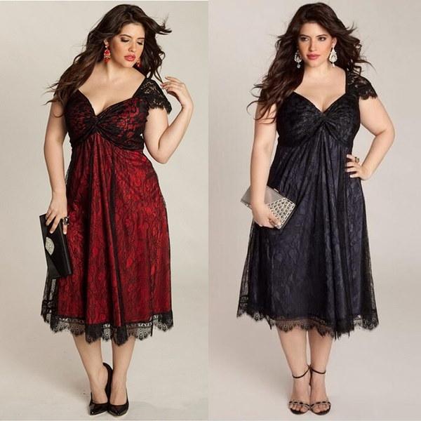 女性のプラスサイズの甘いレースドレスファッションのセクシーなVネックエレガントなドレス