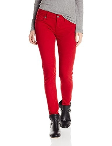 Miss Me Juniors Basic Colored Denim Skinny Jean, Ruby Red, 27