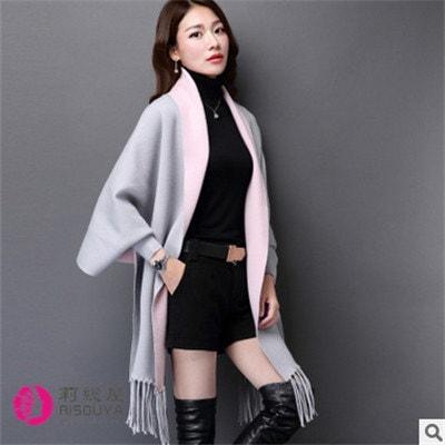 セーター女コート秋新型女装で長めテン絨のフリンジストールニットカーディガン
