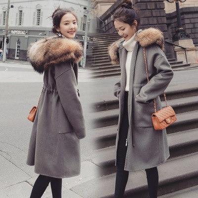 フェックファー   ラシャコート フード付き  レディース ロングコート 韓国ファッション 秋冬 防寒 アウター   厚手 コート  保温 あったかい