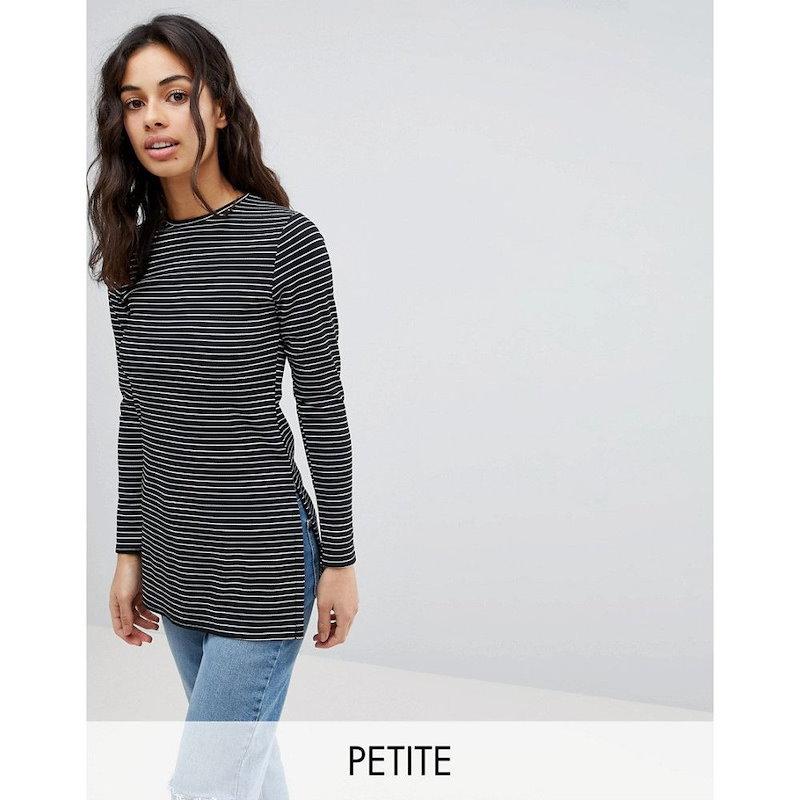ブーフー レディース トップス【Boohoo Petite Side Split Stripe Top】Black