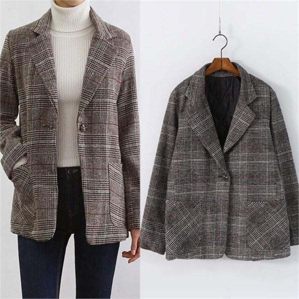 ベストジルクラシックモダンチェックのジャケットD2566ミニモダン 女性のジャケット / 韓国ファッション/ジャケット/秋冬/レディース/ハーフ/ロング/