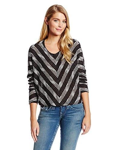 MINKPINK Womens Starry Knit Chevron Sweater, Black/White, Medium