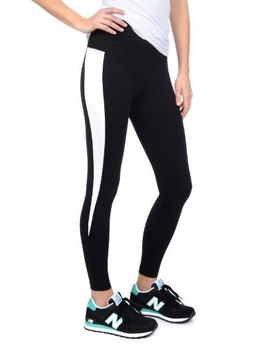 Lysse Womens Spike Stripe Ankle Ponte Legging Pants (Black/White,M)