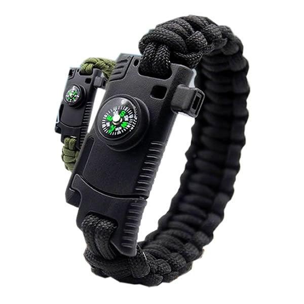 サバイバルブレスレット ナイフ 多機能 8機能 登山 野外 安全対策 コンパス ホイッスル ファイヤースターター tecc-suvbres