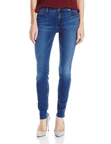 7 For All Mankind Womens Mid Rise Skinny Jean with Tonal Squiggle In Pure Medium Vintage Sateen, Pure Medium Vintage Sateen, 27