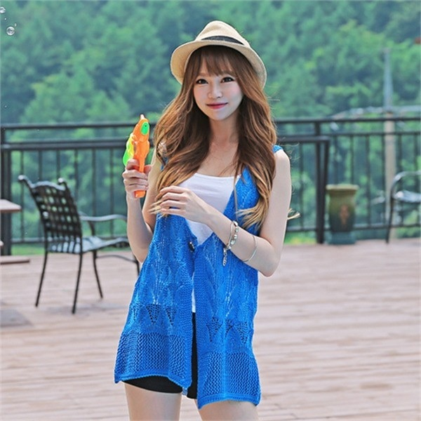 vt005チェリ・エイド夏ニットビーチウェアデイリーシースルー網タイツnew 女性ニット/ Vネックニット/韓国ファッション