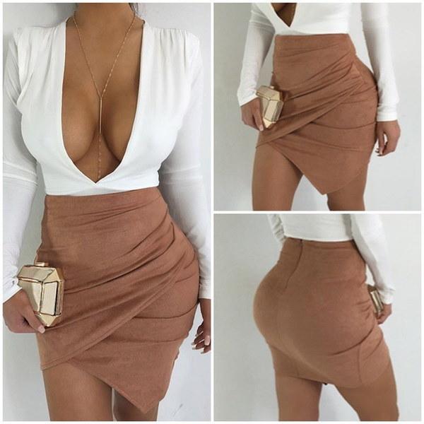セクシーファッション女性ハイウエストボディコンスエードレザーポケットプレッピーショートミニスカート