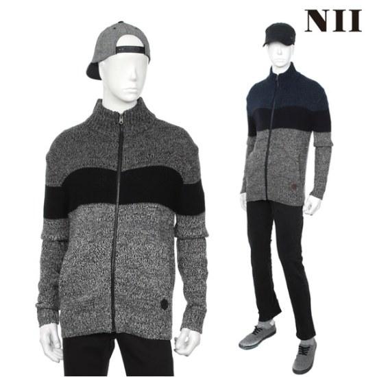 に男性ブロック配色ボカシセータージップアップ ニット/セーター/ニット/韓国ファッション