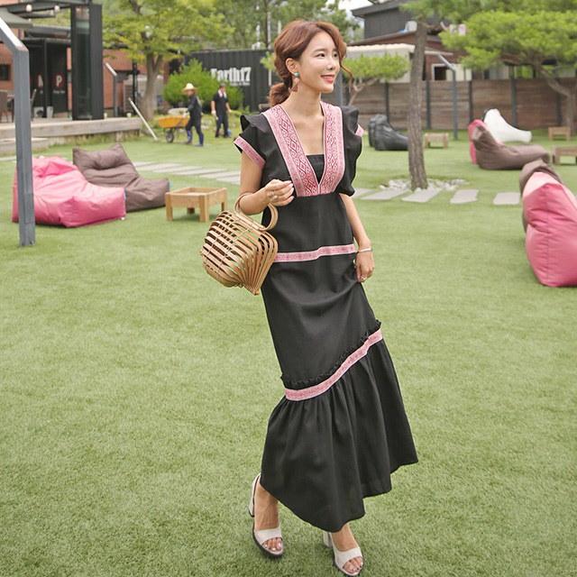 かわいいボヘミアンエスニック刺繍ロングワンピースデイリールックkorea women fashion style