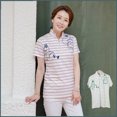 [シーズ・マダム]T53834ドットST半ジプオプゴルフティー/ママの服/ミッシー服/ゴルフ用の洋服 /トップ/ノースリーブTシャツ/ 韓国ファッション