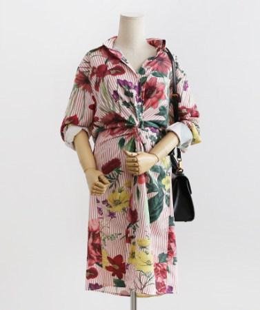 ロマンチックストライプパターンねじれ花秋のシャツワンピース30502デイリールックkorea women fashion style