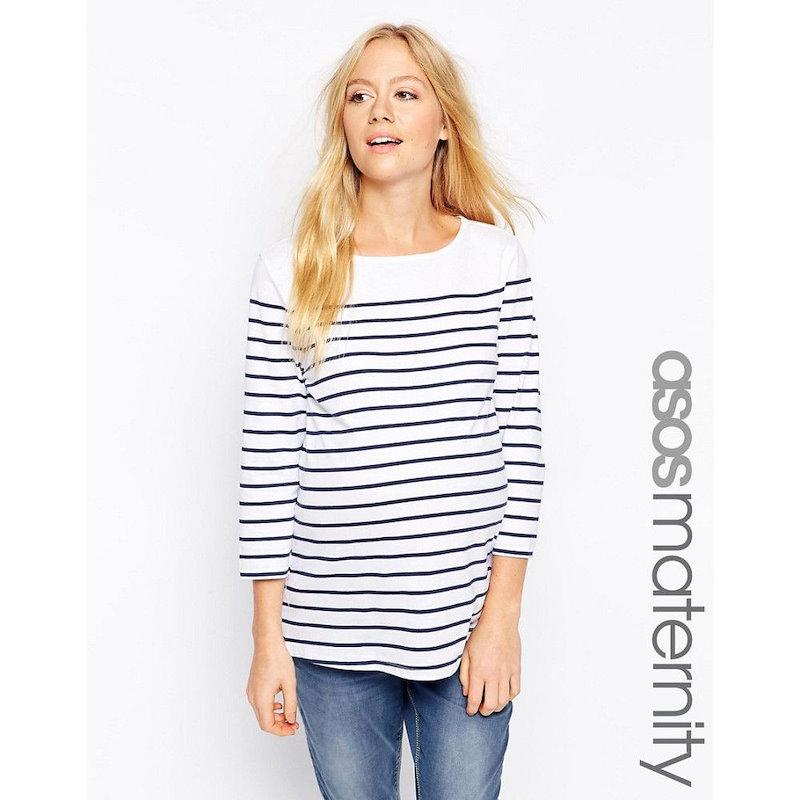 エイソス レディース トップス カジュアルシャツ【ASOS Maternity Top in Cotton Breton Stripe with 3/4 Sleeve】White/navy