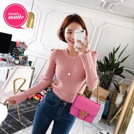 【Imvely]エッジショルダー段ボールニットkorean fashion style