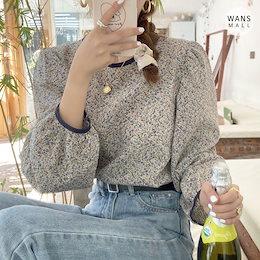 bl3716【wansmall】フラワーパフブラウス💛春の新作🌸春にぴったりバックもかわいいフラワーブラウス!韓国ファッション/韓国コーデ/ブラウス