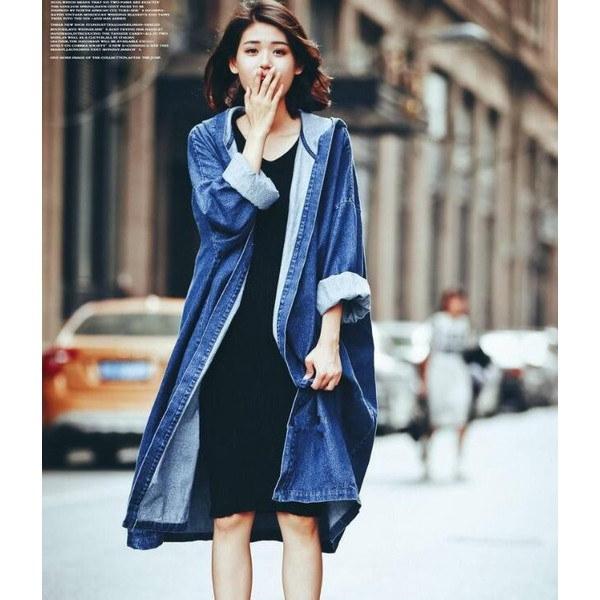デニムジャケット デニムコート レディース ロング丈 ゆったり ロングコート コート アウター デニム フード カジュアル春物