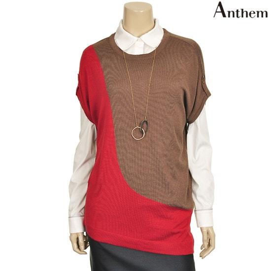 アンセムタブ装飾ブロック配色ロング・ニットMVTBSPF722125 ロングニット/ルーズフィット/セーター/韓国ファッション