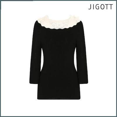 [ジコトゥ](ジコトゥ)波レースプルオーバー・ニットJI4A1PO27 /ニット/セーター/ニット/韓国ファッション