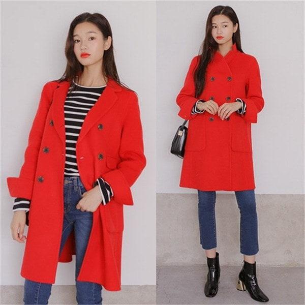 ウール90プレ大きいハンドメードコートレッド 女性のコート/ 韓国ファッション/ジャケット/秋冬/レディース/ハーフ/ロング/