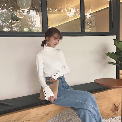 韓国ファッション 韓国 セーター ハイネック 長袖 無地 タイト 春 お出かけ 通勤 オフィス デート (9B080395)