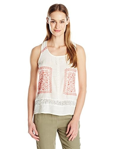 Blu Pepper Womens Colored Tank Top with Floral Embroidery Details, Natural, Small