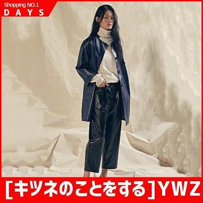 [キツネのことをする]YWZクラシックラウンドラムスキンコートブルー /デニムジャケット/ジャケット/韓国ファッション