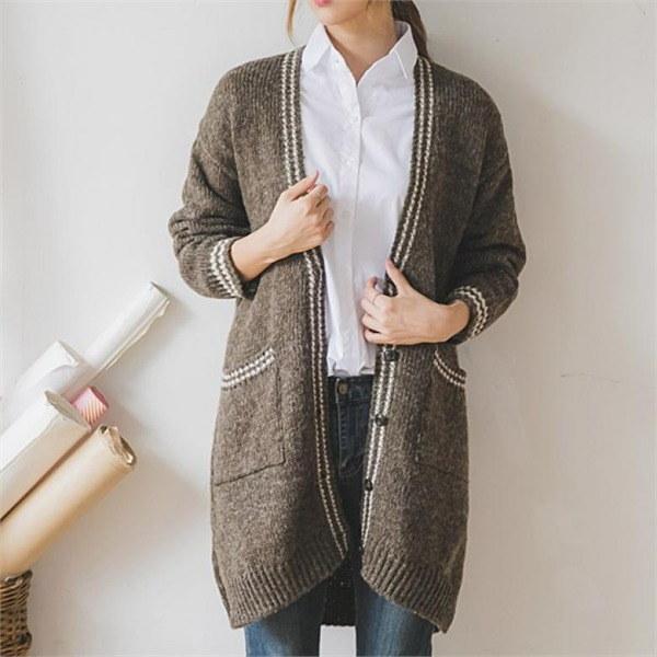 ダンダン配色ワイカディゴンnew 女性ニット/カーディガン/韓国ファッション