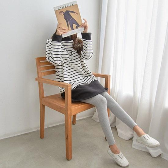 ペッパー・ストライプ配色起毛ワンピース35015 綿ワンピース/ 韓国ファッション