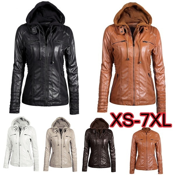 ファッション冬の皮レザージャケット女性のコートフード付きスリムオートバイジャケット女性の基本ジャケットF