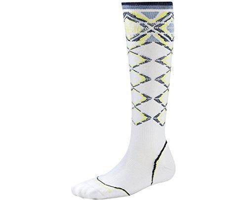 Smartwool Womens PhD Ski Light Pattern White Socks MD (Womens Shoe 7-9.5)