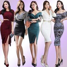 「 01/15新作追加 Special Offer」♥高品質♥韓国ファッション♥OL、正式な場合、礼装ドレス♥セクシーなワンピース、一字肩♥二点セット、側開、深いVネック♥やせて見える、ハイウエ