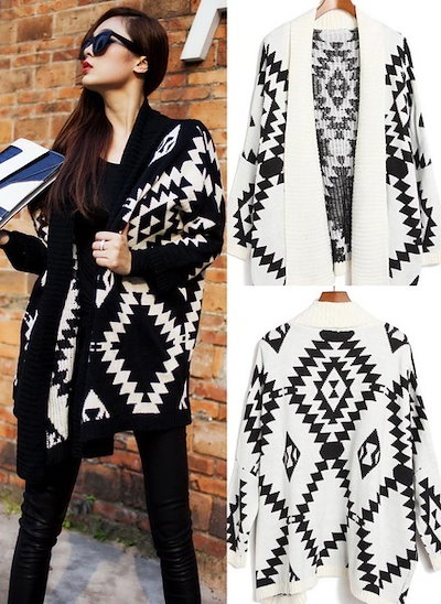 Geometric Over-sized Batwing Sleeves Cardigan