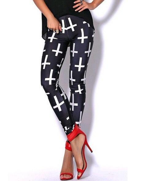 女性のクロスプリントパンツパンクフィットネスカジュアルレギンスブラックパンツ