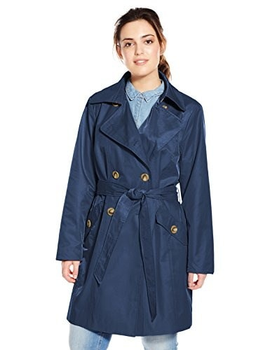 27b9e88c65c97 ... Large 速いです Anne Klein Womens Plus-Size Classic Double-breasted Trench  Coat Plus, Ink,