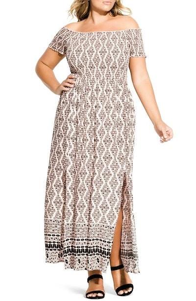 シティーシック レディース ワンピース トップス City Chic Smocked Off the Shoulder Maxi Dress (Plus Size)