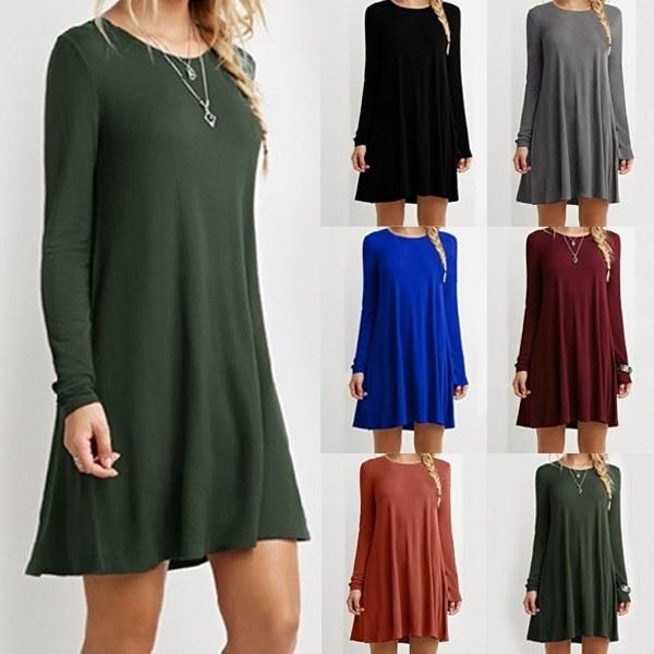 8色女性のカジュアルルーズロングスリーブシャツフリルOネックプルオーバーファッションミニドレスプラスサイズ