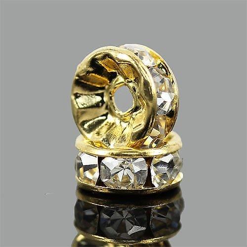 平型ロンデルパーツAゴールド 約6mm 10個〔 天然石 パワーストーン アクセサリー 〕